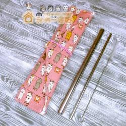 貓咪餐具袋 - 晾衫貓 (粉紅)