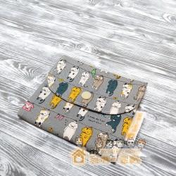 貓咪雙層口袋包 - 晾衫貓 (灰)