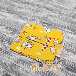 貓咪雙層口袋包 - 晾衫貓 (黃)