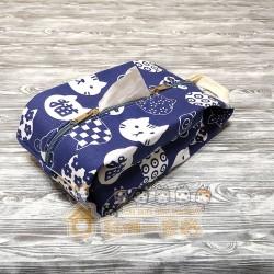 貓咪面紙套 - 藍色底白色貓頭