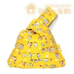貓咪手腕袋 - 晾衫貓 (黃)
