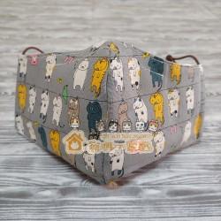 貓咪布藝立體口罩 - 晾衫貓 (灰)