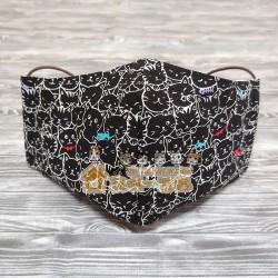 貓咪布藝立體口罩 - BB貓 (黑)