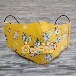 貓咪布藝立體口罩 - 晾衫貓 (黃)