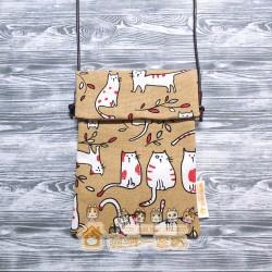 貓咪斜背包 - 淺啡色底紅白色貓咪